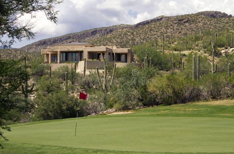 Arizona golf course scenic landscape and homes stock image