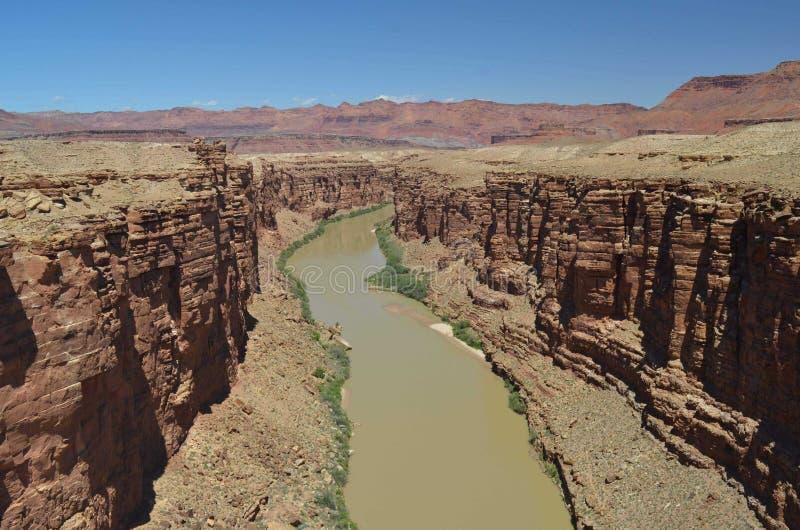Arizona Grand Canyonflod med blå himmel royaltyfri fotografi