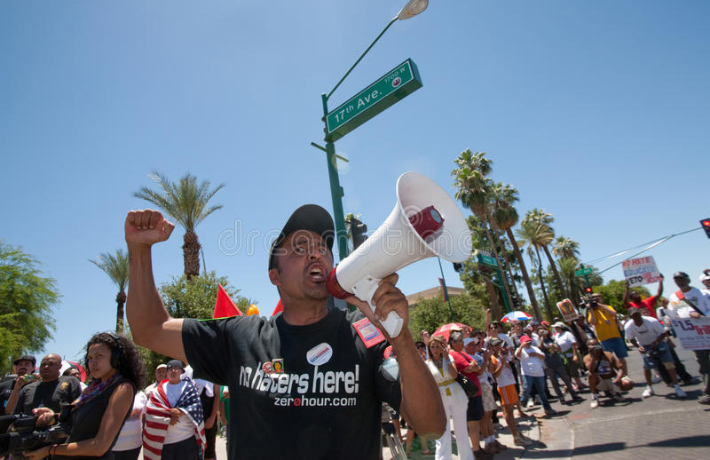 Arizona Immigration SB1070 Protest Rally. Man with bullhorn at Arizona anti-SB1070 rally royalty free stock photos
