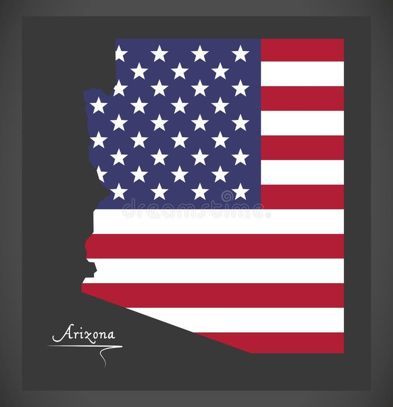 Arizona-Karte mit amerikanischer Staatsflaggeillustration lizenzfreie abbildung