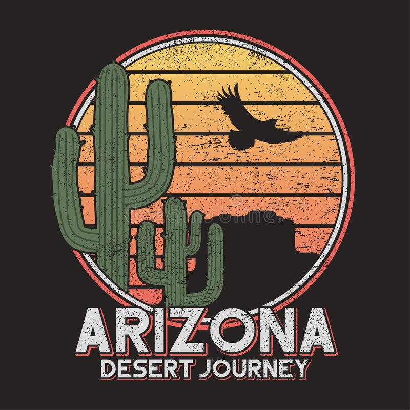 Arizona koszulki typografia z kaktusem, górą i orłem, Rocznika druk dla trójnik koszulowych grafika, slogan - pustynna podróż wek ilustracja wektor