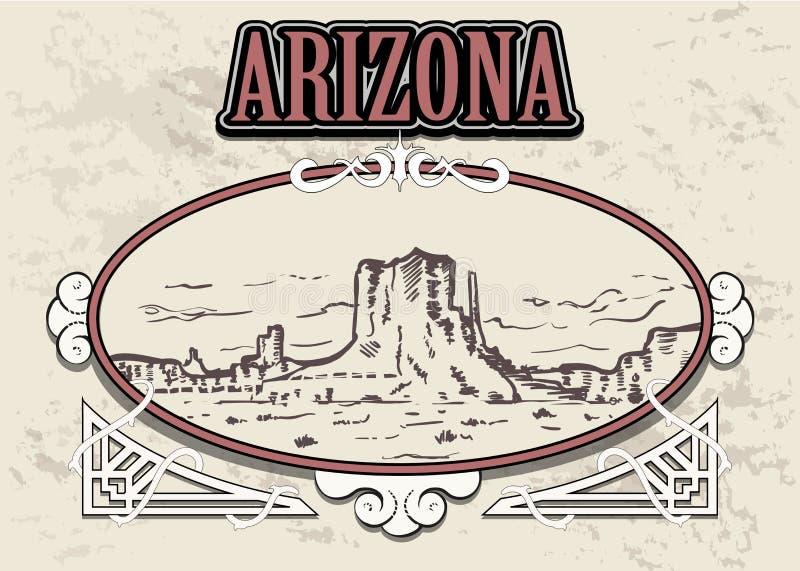 Arizona linia horyzontu, usa, w dekoracyjnej rocznik ramie ilustracja wektor