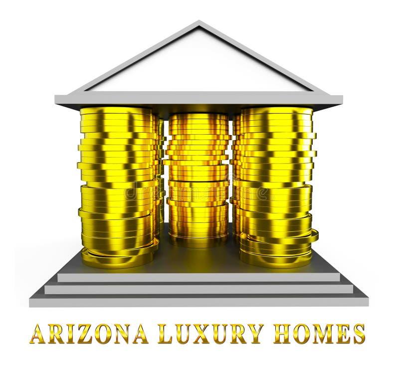 Arizona Luxury Homes Means High Class Accomodation 3d Illustration. Arizona Luxury Homes Means High Class Accomodation With Expensive Lifestyle 3d Illustration royalty free illustration