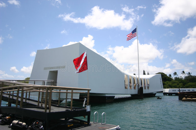 Arizona Memorial. In Pearl Harbour, Oahu, Hawaii stock photos