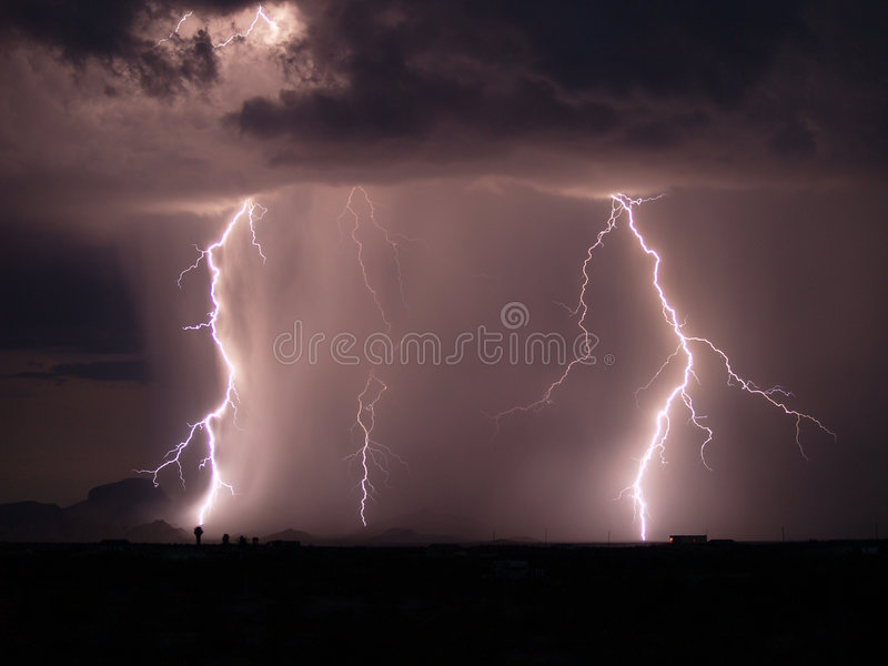 Arizona Monsoon Storm 2006o. A late night Arizona Monsoon storm with two prominent lightning bolts in the distance royalty free stock photos