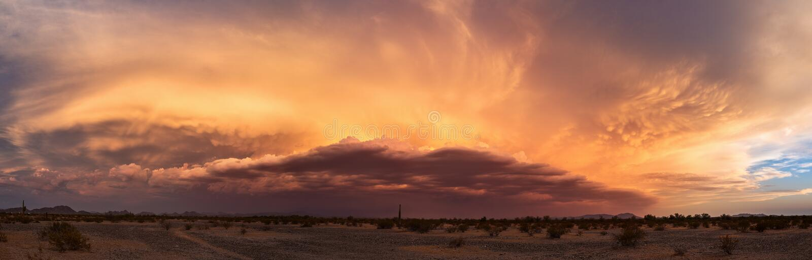 Arizona monsoon sunset panorama. Arizona desert monsoon sunset panorama stock photography