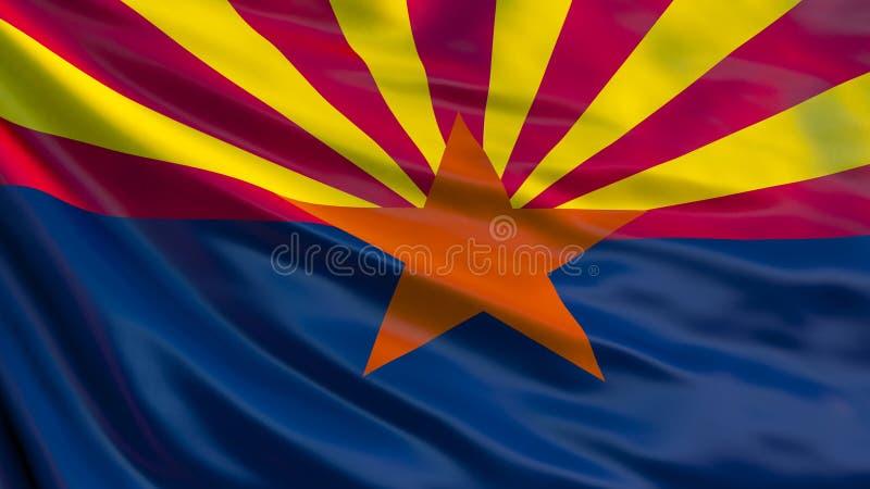 arizona państwa bandery Machać flagę Arizona stan, Stany Zjednoczone Ameryka royalty ilustracja