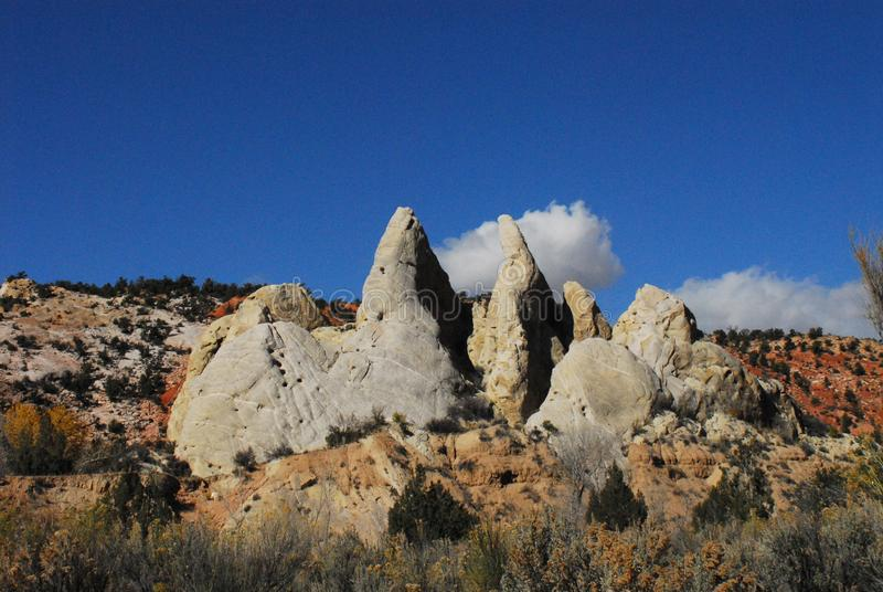 Arizona- Peaked White Rock Formations in the Colorful Desert stock photos