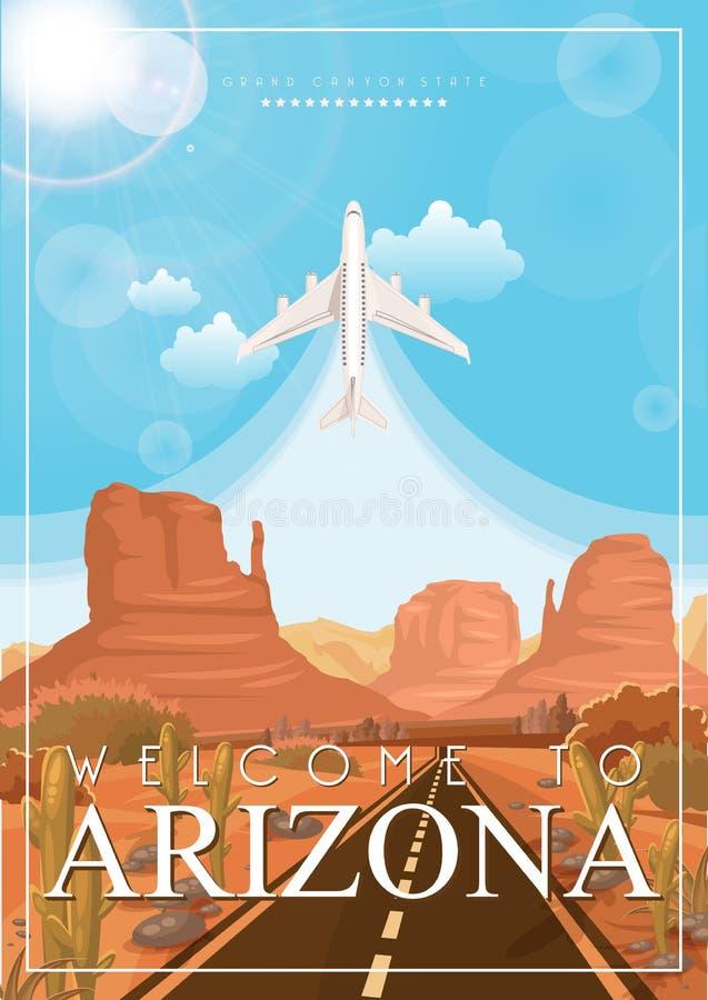 Arizona podróży amerykański sztandar Mile widziany sztandar ilustracji