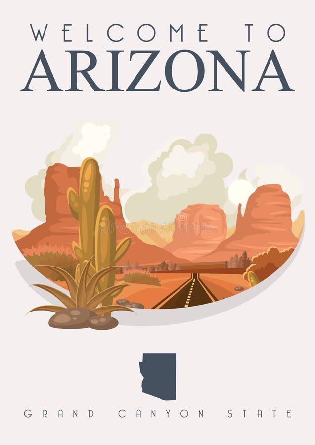 Arizona podróży amerykański sztandar Plakat z Arizona krajobrazami ilustracji