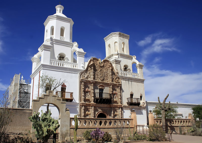 Arizona's San Xavier del Bac Spanish Mission. San Xavier del Bac Mission is viewed by many to be the finest example of mission architecture in the United States royalty free stock images