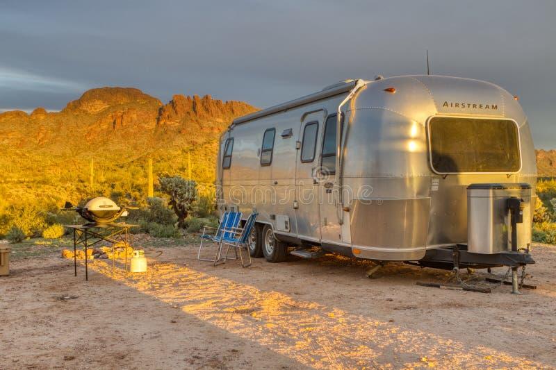 Arizona Saguaro Forest Airstream Campsite. Vulture Peak Wickenberg Arizona dry camping site complete with vintage Airstream RV camper stock photos