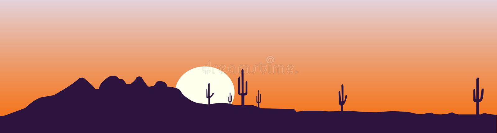 Arizona skyline at the sunset. Illustration of a skyline typical of Arizona or other desertic place. Sand, cactus and sun