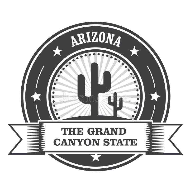 Arizona stanu round znaczek z kaktusem royalty ilustracja