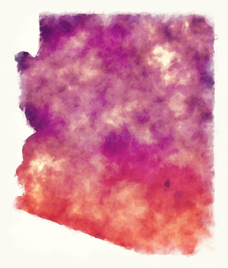 Arizona stanu usa akwareli mapa przed białym tłem ilustracja wektor