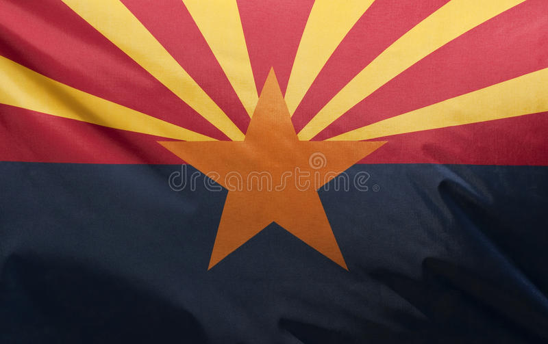 Arizona State Flag. A close-up of the Arizona state flag waving in the wind royalty free stock image