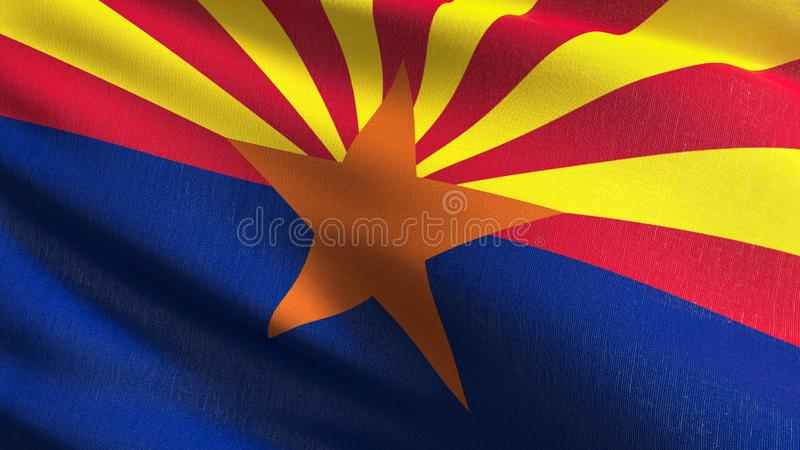 Arizona state flag in The United States of America, USA, blowing in the wind isolated. Official patriotic abstract design. 3D stock illustration