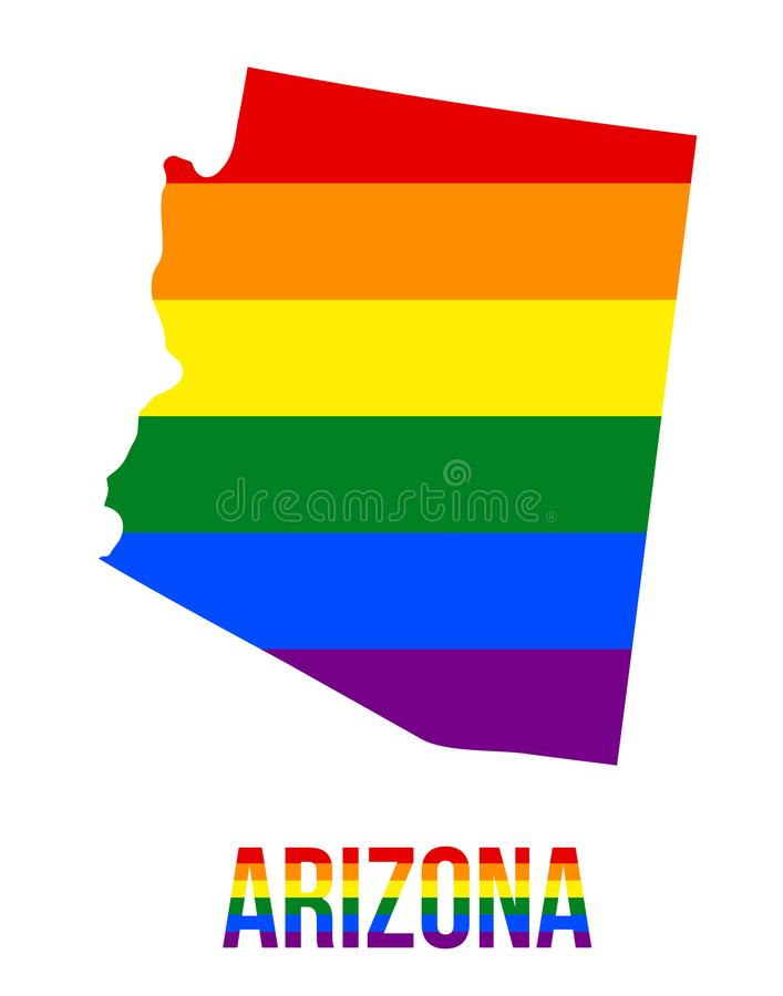 Arizona State Map in LGBT Rainbow Flag Comprised Six Stripes With Arizona LGBT Text. The Flag Comprised Six Stripes; Meaning to Each of The Colors: Life stock illustration