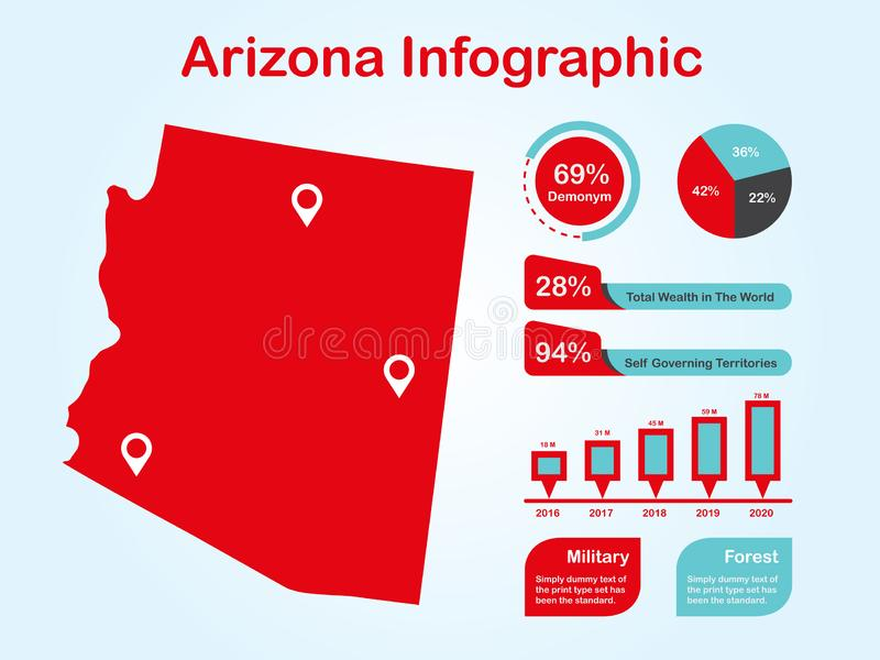 Arizona State USA Map with Set of Infographic Elements in Red Color in Light Background. Modern Information Graphics Element for your design royalty free illustration