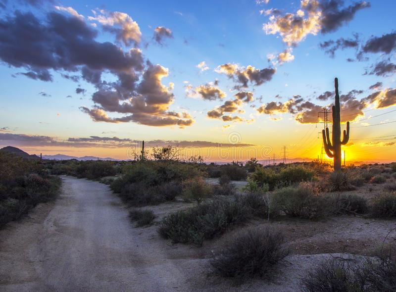 Stunning Arizona sunset along hiking trail in Scottsdale, AZ. Arizona sunset along hiking trail at Browns ranch in Scottsdale, AZ royalty free stock image