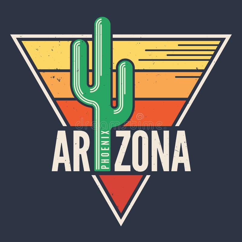 Arizona t-shirt design, print, typography, label with styled sag. Uaro cactus. Vector illustration royalty free illustration