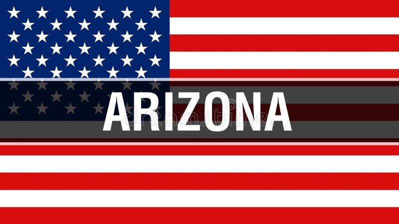 Arizona tillstånd på en USA flaggabakgrund, tolkning 3D USA flagga som vinkar i vinden Stolt vinka för amerikanska flaggan royaltyfri illustrationer