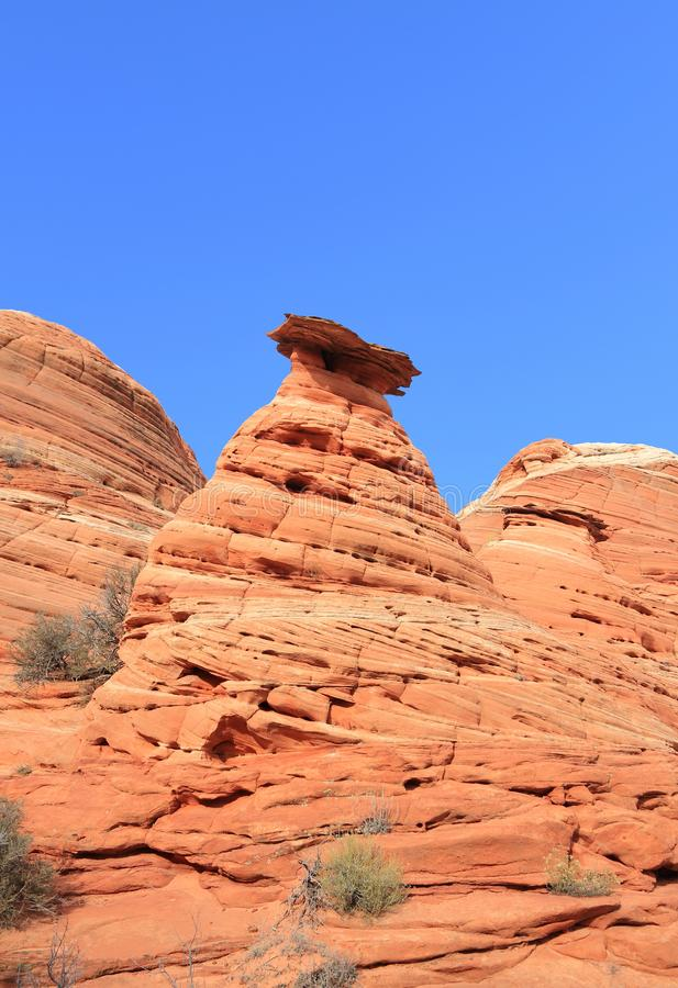 Arizona, Utah/: Kojotów Buttes - Sculpted Rockowa iglica obraz stock