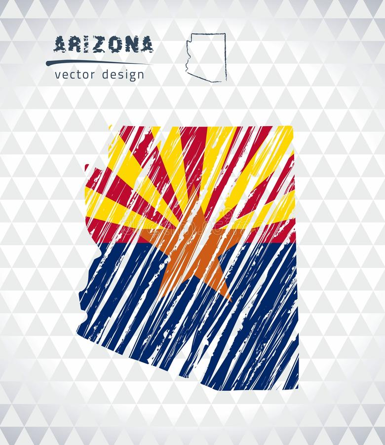 Arizona vector map with flag inside isolated on a white background. Sketch chalk hand drawn illustration vector illustration