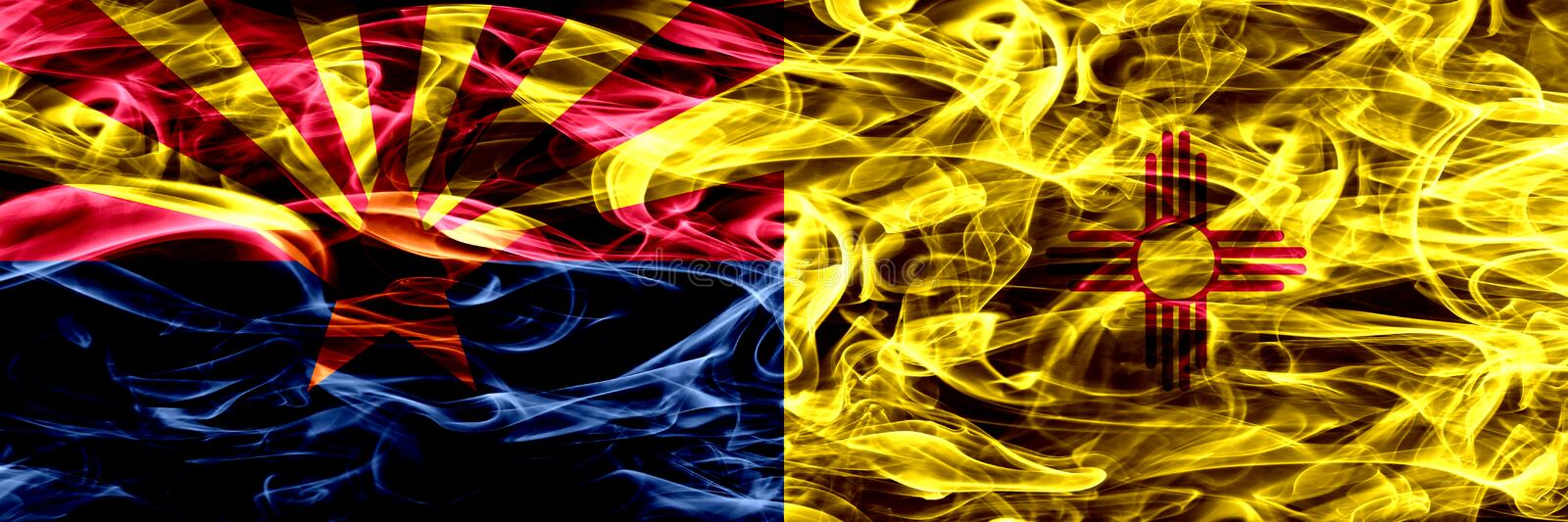 Arizona vs New Mexico colorful concept smoke flags placed side by side.  royalty free stock photos