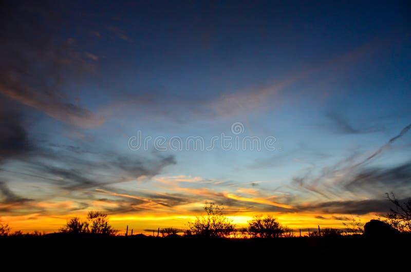 Arizona-Wüsten-Sonnenuntergang stockfoto