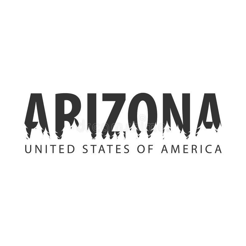 arizonian 美国 美国状态团结了 文本或标签与森林剪影  皇族释放例证