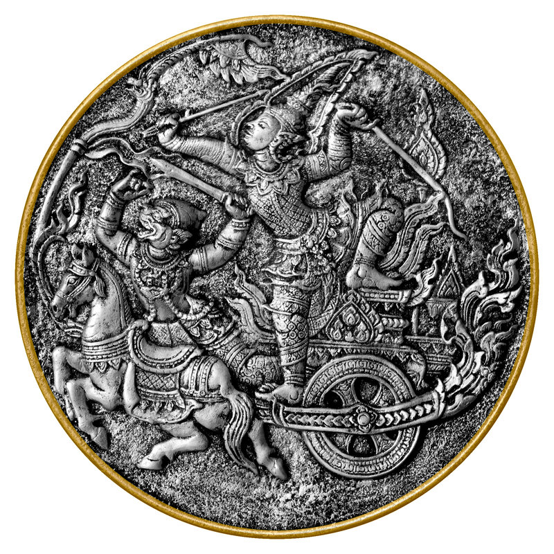 Arjuna und Hanuman stockfotografie