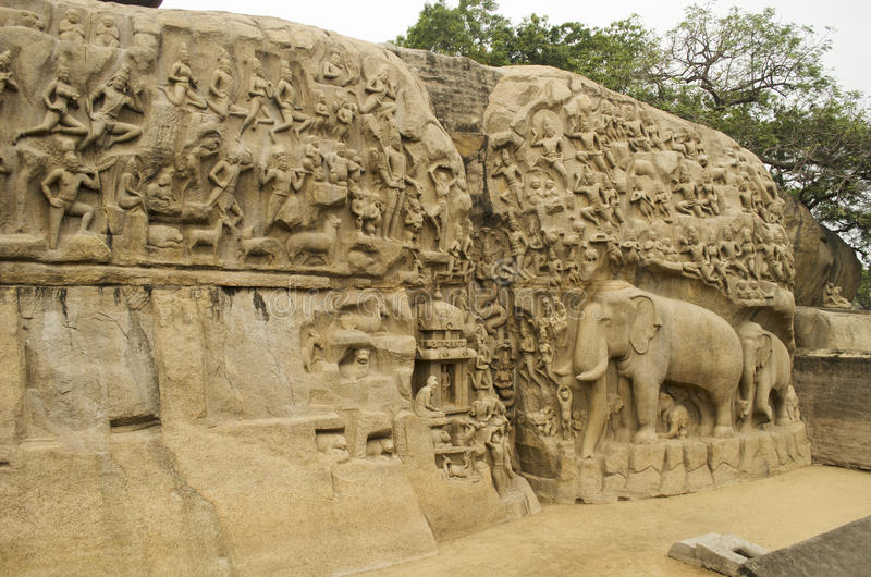 Arjunas Buße bei Mahabalipuram, Tamil Nadu, Indien, Asien lizenzfreies stockbild