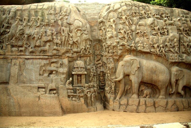 Arjunas Penance, Indien royaltyfri fotografi
