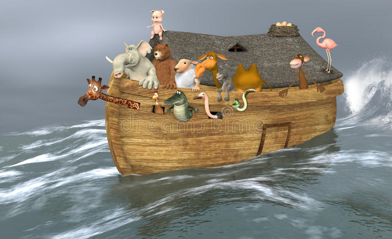 Ark. The Ark with the animals is sailing through the storm and bad weather to search a new land stock illustration