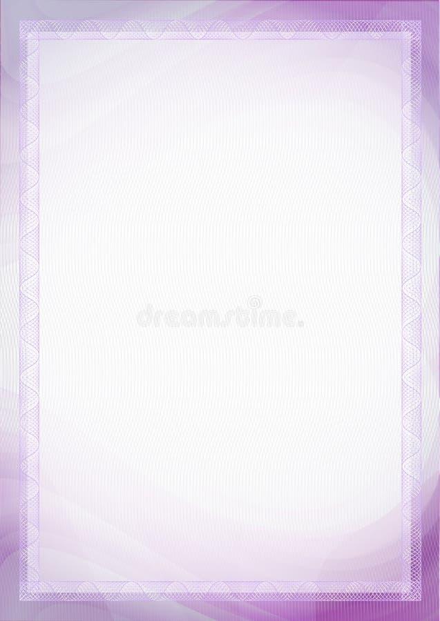 Ark av papper med det purpurf?rgade violetta formatmellanrumet f?r guilloche A4 f?r dokument - certifikat, diplom, s?kerheter, bi fotografering för bildbyråer