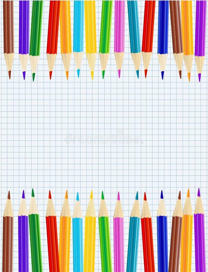 Ark av papper med färgblyertspennor royaltyfri illustrationer