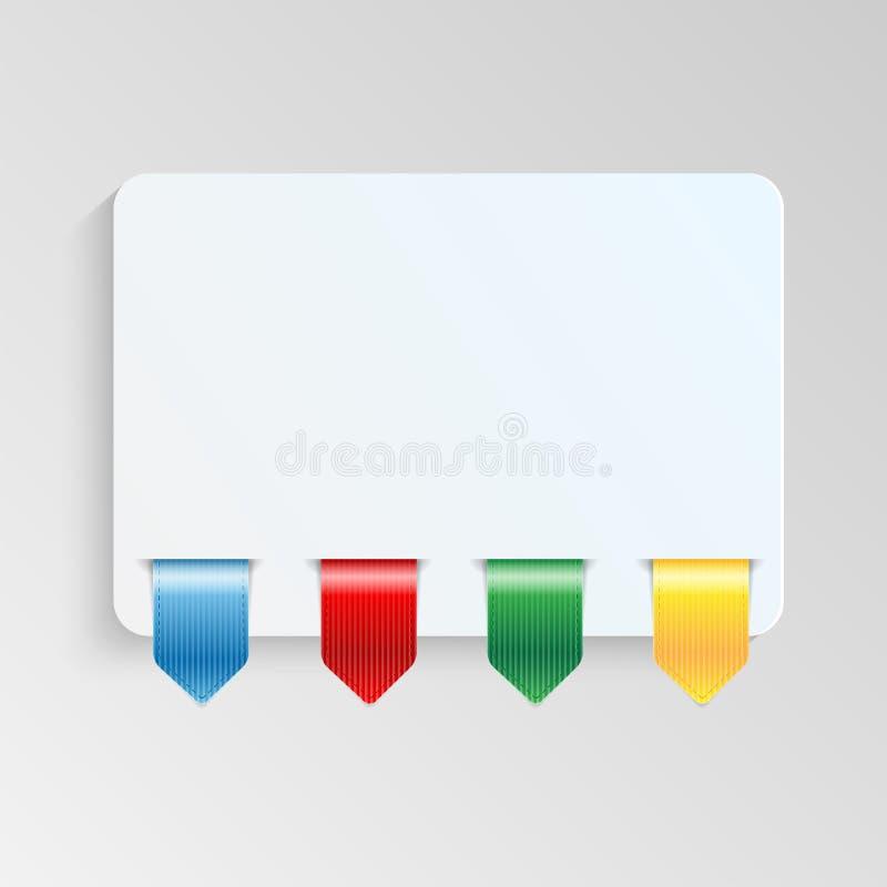 Ark av papper med flerfärgade etiketter vektor illustrationer