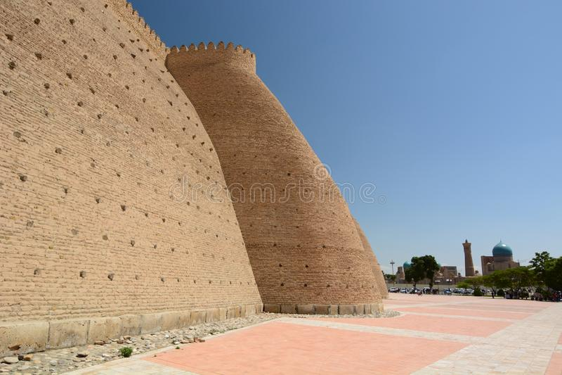 The ramparts of The Ark. Bukhara. Uzbekistan. The Ark of Bukhara is a massive fortress located in the city of Bukhara royalty free stock image