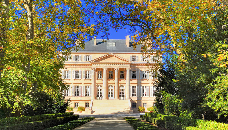 Ark of the chateau margaux in margaux in the Medoc. Wine in the Gironde France; photo taken in autumn at feet of the chateau margaux bordeaux royalty free stock photo