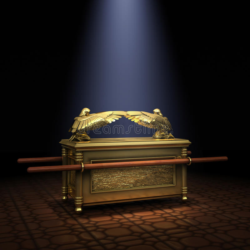 Ark of the Covenant. Inside the Holy of Holies illuminated with a shaft of light from above royalty free stock photography
