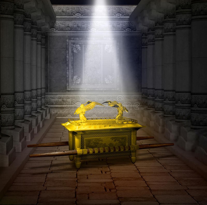 Ark of the Covenant. 3D illustration of the Ark of the Covenant inside the Holy Temple illuminated by a shaft of light from heaven royalty free illustration