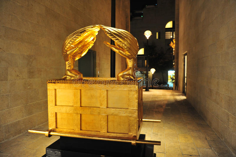 The Ark of the Covenant in Jerusalem. JERUSALEM - AUGUSt 04:The Ark of the Covenant artwork exhibit in Mamilla open shopping mall on August 04 2011 in Jerusalem royalty free stock photos