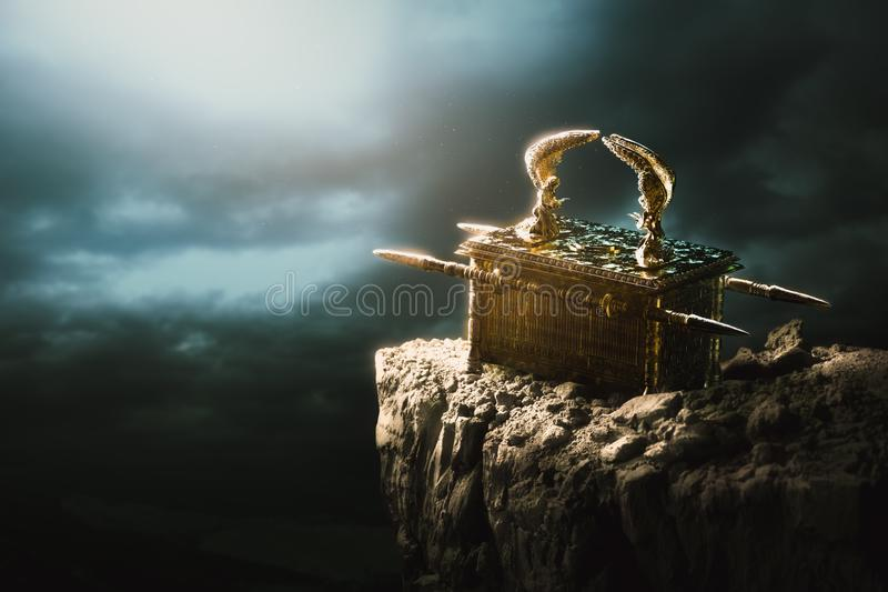 Ark of the covenant at the top of a mountain / 3D Rendering royalty free illustration