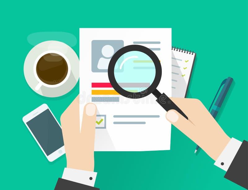 Ark för CV-applikationpapper, händer för affärsman som rymmer meritförteckningdokumentet vektor illustrationer
