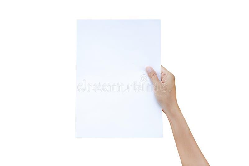 Ark för kvinnahandinnehav av papper som isoleras på vit bakgrund arkivbild