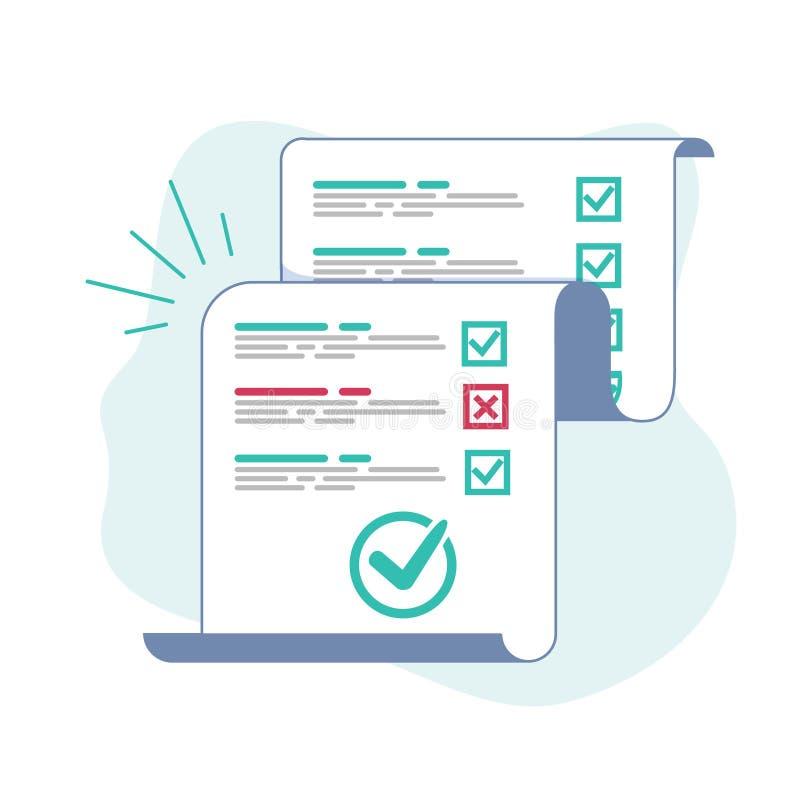 Ark för långt papper för gransknings- eller examenform med den svarade frågesportkontrollista- och framgångresultatbedömningen, i vektor illustrationer