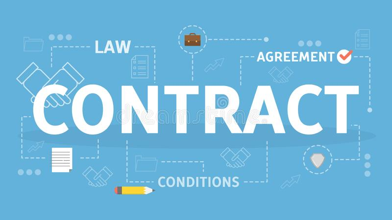 ark för penna för papper för överenskommelsebegreppsavtal Idé av laglig överenskommelse och dokumentet royaltyfri illustrationer