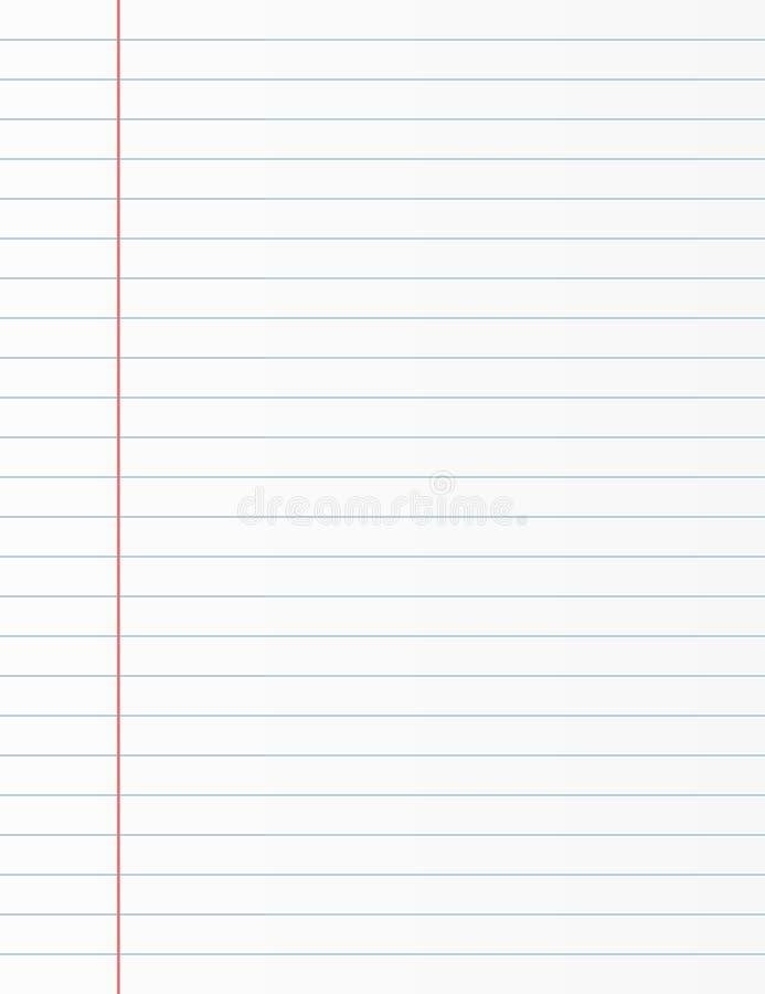 Ark för skolaanteckningsbokpapper Skrivboksidabakgrund Fodrad notepadbakgrund royaltyfri illustrationer