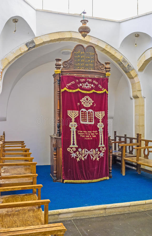 The Ark of the Middle Synagogue. JERUSALEM, ISRAEL - FEBRUARY 18, 2016: The wooden Ark in Emtsai Synagogue (Middle Synagogue) of Four Sephardic Synagogues stock image
